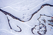 detail of fresh ice on Reflection Lake in Mount Rainier National  Park, WA, USA