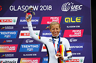 Podium, Time Trial Women 32,3 km, Trixi Worrack (Germany) bronze medal during the Road Cycling European Championships Glasgow 2018, in Glasgow City Centre and metropolitan areas Great Britain, Day 7, on August 8, 2018 - photo Luca Bettini / BettiniPhoto / ProSportsImages / DPPI<br /> - restriction - Netherlands out, Belgium out, Spain out, Italy out- photo