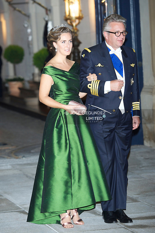 TRH Prince Laurent and Princess Claire of Belgium attend a Gala dinner for the wedding of HRH Guillaume the Hereditary Grand Duke and Countess Stephanie de Lannoy at Palais Grand-Ducal on October 19, 2012 in Luxembourg