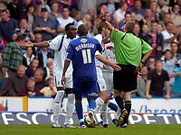 Photo: Alan Crowhurst.<br />Crystal Palace v Preston NE. Coca Cola Championship.<br />24/09/2005. Referee Steve Tanner sends Claude Davis off for a terrible challenge on Dougie Freedman.