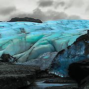 The deep blue of Myrdasljokull Glacier.