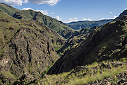 From Dug Bar Road, look back south along the Wild and Scenic Imnaha River, in Hells Canyon National Recreation Area, Wallowa-Whitman National Forest, north of Imnaha village, Oregon, USA.