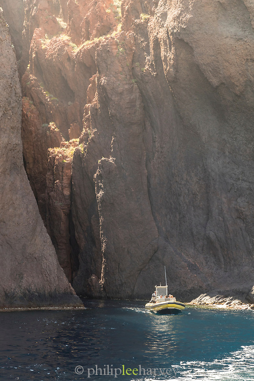 Jet boat on sea, Scandola Nature Reserve, Corsica, France