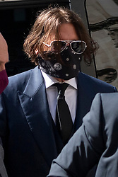 © Licensed to London News Pictures. 07/07/2020. London, UK. Actor JOHNNY DEPP arrives at the High Court of Justice on the first day of his libel trial against The Sun newspaper. Photo credit: Ray Tang/LNP