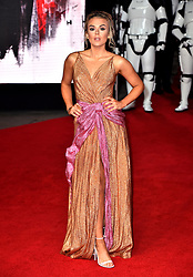 Tallia Storm attending the european premiere of Star Wars: The Last Jedi held at The Royal Albert Hall, London.