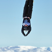 Karen Kiczek (Park City, UT) performs aerial acrobatics during the 2009 Sprint US Freestyle Championships held at the Utah Olympic Park in Park City on March 8, 2009. Kiczek scored 112.93 points on the day which was good enough for 6th place overall.