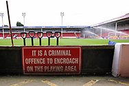 Keep off the pitch sign before the EFL Sky Bet League 1 match between Walsall and Barnsley at the Banks's Stadium, Walsall, England on 23 March 2019.