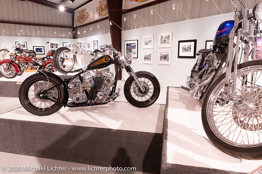 Steve Broyles' Stevenson's Cycle's (founded 1969 Wayne, MI) Twist-Her (built 2005) custom Harley-Davidson Evo Bobber in the Heavy Mettle - Motorcycles and Art with Moxie exhibition at the Sturgis Buffalo Chip. This is the 2020 iteration of the annual Motorcycles as Art series curated and produced by Michael Lichter. Sturgis, SD, USA. Friday, August 7, 2020. Photography ©2020 Michael Lichter.