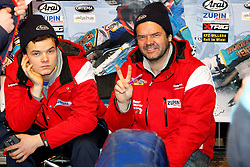 13.03.2016, Assen, BEL, FIM Eisspeedway Gladiators, Assen, im Bild Luca Bauer (GER), Guenter Bauer (GER) // during the Astana Expo FIM Ice Speedway Gladiators World Championship in Assen, Belgium on 2016/03/13. EXPA Pictures © 2016, PhotoCredit: EXPA/ Eibner-Pressefoto/ Stiefel<br /> <br /> *****ATTENTION - OUT of GER*****