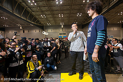 "Builder introductions - ""Kross"" Kaichiroh Kurosu at the Mooneyes Yokohama Hot Rod & Custom Show. Yokohama, Japan. December 6, 2015.  Photography ©2015 Michael Lichter."