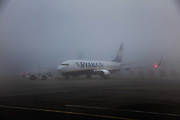 Ryan Air plane delayed by the fog, 17th December 2016, Stanstead airport, United Kingdom.