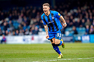 Gillingham FC midfielder Mark Byrne (33) scores a goal (1-0) and celebrates during the EFL Sky Bet League 1 match between Gillingham and Scunthorpe United at the MEMS Priestfield Stadium, Gillingham, England on 16 February 2019.