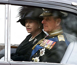 File photo dated 09/04/02 of Queen Elizabeth II and Duke of Edinburgh after leaving Westminster Abbey following the funeral service of Queen Elizabeth, the Queen Mother. The Queen mother's funeral was the last royal funeral to be extensively televised in the UK. Issue date: Friday April 16, 2021.