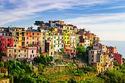 Evening light on Corniglia, Cinque Terre, Liguria, Italy