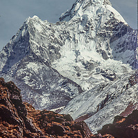 Sacred mount Ama Dablam rises near Everest in the Khumbu region of Nepal's Himalaya.