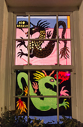 © Licensed to London News Pictures. 08/02/2019. Bristol, UK. Window Wanderland in BS9. A comment on Brexit combined with the start of the Chinese New Year, in the first part of a weekend of window art in Bristol. Window Wonderland was started in 2015 and aims to bring people together by helping them to put on community events, build relationships, strengthen neighbourhoods, create pride and spread friendship, positivity, happiness and goodwill. Photo credit: Simon Chapman/LNP