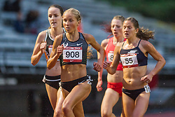 Jordan Hasay of Nike Oregon Project pushes the pace in womens 5000 meters as athletes seek the Olympic qualifying standard on a rainy evening in Oregon.