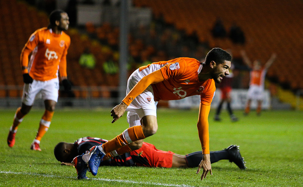 Blackpool's Kelvin Mellor wheels away to celebrate after scoring the equalising goal to make the score 1-1<br /> <br /> Photographer Alex Dodd/CameraSport<br /> <br /> The EFL Sky Bet League One - Blackpool v Blackburn Rovers - Tuesday 28th November 2017 - Bloomfield Road - Blackpool<br /> <br /> World Copyright © 2017 CameraSport. All rights reserved. 43 Linden Ave. Countesthorpe. Leicester. England. LE8 5PG - Tel: +44 (0) 116 277 4147 - admin@camerasport.com - www.camerasport.com