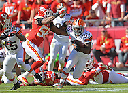KANSAS CITY, MO - OCTOBER 27:  Running back Chris Ogbonnaya #25 of the Cleveland Browns rushes against pressure from linebacker Derrick Johnson #56 of the Kansas City Chiefs during the second half on October 27, 2013 at Arrowhead Stadium in Kansas City, Missouri.  Kansas City won 23-17. (Photo by Peter Aiken/Getty Images) *** Local Caption *** Chris Ogbonnaya;Derrick Johnson