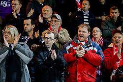 Bristol City fans cheer as the teams run out before kickoff - Photo mandatory by-line: Rogan Thomson/JMP - 07966 386802 - 28/11/2014 - SPORT - FOOTBALL - Peterborough, England - ABAX Stadium - Peterborough United v Bristol City - Sky Bet League 1.