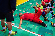 2016/06/07 – Bogotá, Colombia: Jonathan Fontes, 35, relaxes after a training session at the High Performance Complex, Bogotá, 7th June 2016.<br /> -<br /> Jonathan is a retired soldier of the Colombian army. In 2012, he stepped on an anti-personnel mine during a routine round in the Caqueta department, losing his right leg. At the beginning the process of recuperation was difficult, since he felt he was totally dependent on others. <br /> At first he started to focus on weightlifting sports, but found he was too tall. He was recommend to try seated volleyball, a sport that until then was unknown to him. Nowadays, he is the Captain of the Colombian team. The dream is to arrive to the Rio 2016 Paralympic games, but the national team only started to play the sport for the first time in 2011. <br /> The Colombian Volleyball net team finished 4th in the Pan-American Games of Toronto in 2015. Unfortunately they needed to have finished 2nd in order to qualify for a spot on this year Paralympics. Jonathan believes it still isn't the right time and that they have much more to learn. Instead they aim to work hard and be on the next Paralympics in Tokyo 2020. (Eduardo Leal)