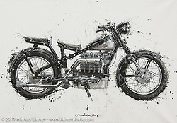 Makoto Endo's Ink on Canvas Paintings, that he Paints with Chopsticks. What's the Skinny? 2019 exhibition artwork from the Motorcycles as Art series at the Sturgis Buffalo Chip. Sturgis, SD, USA. Monday, July 29, 2019. Photography ©2019 Michael Lichter.