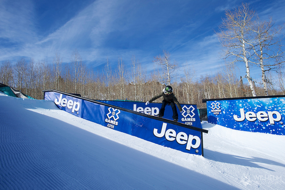 Silje Norendal during Women's Snowboard Slopestyle Practice at 2014 X Games Aspen at Buttermilk Mountain in Aspen, CO. ©Brett Wilhelm/ESPN