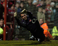 Photo: Jed Wee.<br /> Doncaster Rovers v Arsenal. Carling Cup. 21/12/2005.<br /> <br /> Arsenal goalkeeper Manuel Almunia is their hero as he saves two penalties.