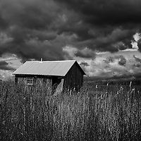"""""""Overtaken by More Clouds"""" <br /> <br /> An amazing black and white farm scene on a dark and stormy day!"""