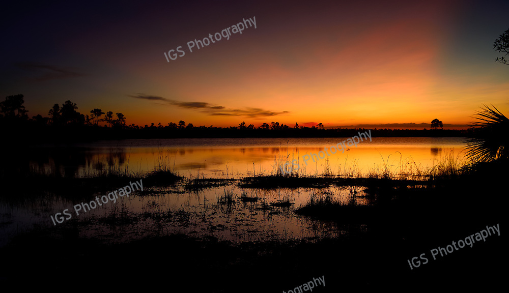 Sunset at Pine Glades Lake in the Everglades National Park