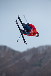 February 18, 2018 - Pyeongchang, South Korea - TYLER HARDING of Great Britain competes in the Mens Ski Slopestyle competition Sunday, February 18, 2018 at Phoenix Snow Park at the Pyeongchang Winter Olympic Games.  Photo by Mark Reis, ZUMA Press/The Gazette (Credit Image: © Mark Reis via ZUMA Wire)