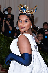Mindy Kaling walking the red carpet at The Metropolitan Museum of Art Costume Institute Benefit celebrating the opening of Heavenly Bodies : Fashion and the Catholic Imagination held at The Metropolitan Museum of Art  in New York, NY, on May 7, 2018. (Photo by Anthony Behar/Sipa USA)