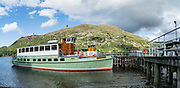 Glenridding Ullswater Ferry Landing. Ullswater is England's second largest natural lake. Grisedale valley, Lake District National Park, Cumbria county, England, United Kingdom, Europe. England Coast to Coast hike with Wilderness Travel, day 5 of 14: Grasmere to Ullswater. [This image, commissioned by Wilderness Travel, is not available to any other agency providing group travel in the UK, but may otherwise be licensable from Tom Dempsey – please inquire at PhotoSeek.com.]