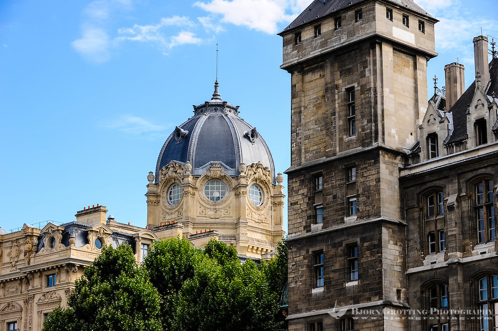 Paris, France. View from a boat on the river Seine. Dome of the Tribunal de Commerce building.