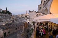 Panoramic view of Sasso Barisano at  dusk from Terrazzino restaurant