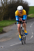 United Kingdom, Finchingfield, Mar 27, 2010:  Barry Page, Hertfordshire Wheelers, approaches the 4 miles to go marker during the 2010 edition of the'Jim Perrin' Memorial Hardriders 25.5 mile Sporting TT promoted by Chelmer Cycling Club. Copyright 2010 Peter Horrell.