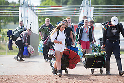 The first people through at the opening of the T in the Park 2015 campsite for the very first year at its new home at Strathallan Castle.