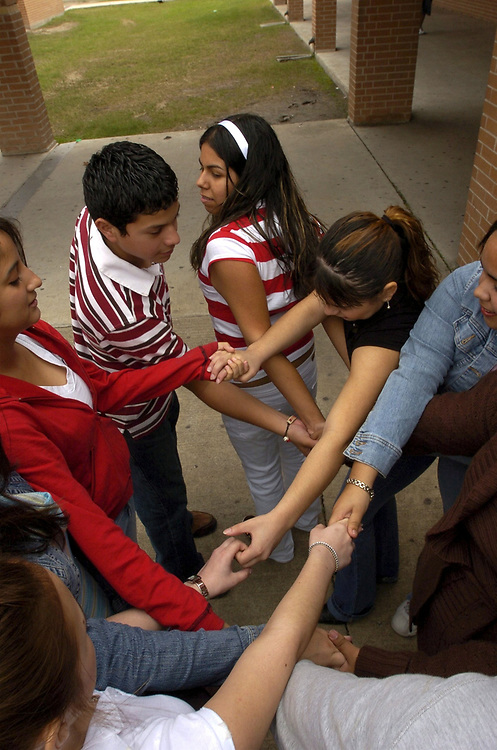 Brownsville, TX January, 2006:  Team-building exercise in family life class that promotes trust between classmates. <br /> ©Bob Daemmrich/
