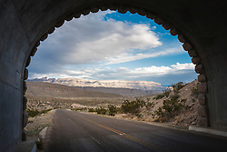Tunnel with view to Sierra del Carmens, Big Bend National Park, Texas, USA.