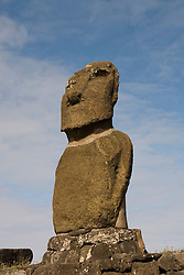 Chile, Easter Island: Statue or moai on a platform or ahu called Ahu Tahai, near Hang Roa..Photo #: ch223-33101.Photo copyright Lee Foster www.fostertravel.com lee@fostertravel.com 510-549-2202