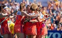 AMSTELVEEN - Marijn Veen (Ned) scoort 1-1   tijdens  de  finale  Nederland-Australie  (2-2) (Ned. wns) van de Pro League hockeywedstrijd dames. COPYRIGHT  KOEN SUYK