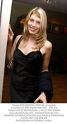 Model MISS MEREDITH OSTROM, at a party in London on 30th September 2003.PNF 213