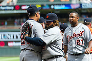 Prince Fielder (28) and Miguel Cabrera (24) of the Detroit Tigers celebrate after the Tigers defeated the Minnesota Twins on August 15, 2012 at Target Field in Minneapolis, Minnesota.  The Tigers defeated the Twins 5 to 1.  Photo: Ben Krause
