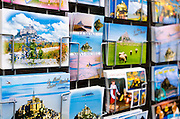 Postcards for sale at Mont Saint-Michel, Normandy, France