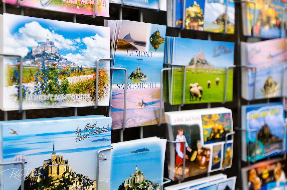 Postcards for sale at Mont Saint-Michel, Normandy, France