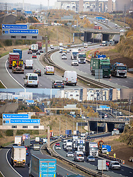 © Licensed to London News Pictures. 05/11/2020. Leeds UK. Comparison picture showing how there is little difference in the amount of traffic on the first day of lockdown. Top picture taken today 05/11/2020, Bottom picture taken yesterday 04/11/2020 from the same location on the A1 Motorway outside Leeds, Yorkshire. photo credit: Andrew McCaren/LNP