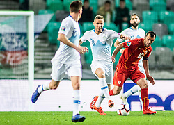 Miha Zajc of Slovenia and Jasmin Kurtič of Slovenia and Miha Mevlja of Slovenia vs Goran Pandev of Macedonia during football match between National teams of Slovenia and North Macedonia in Group G of UEFA Euro 2020 qualifications, on March 24, 2019 in SRC Stozice, Ljubljana, Slovenia.  Photo by Matic Ritonja / Sportida