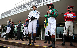 Jockey's Catherine Mills, Madeleine Bunbury and Scott Lowther ahead of the Pertemps Champions Willberry Charity Race during the April Meeting at Cheltenham Racecourse
