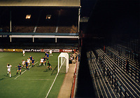 "Football - 1980 / 1981 Cup Winners Cup - Round One, Second Leg - West Ham United vs Castilla - Upton Park.<br /> <br /> In these current Covid times of sporting restrictions, it's 40 years ago on the 1st October that the ""Ghost"" Game was played behind closed doors at Upton Park.<br /> Because of crowd trouble in the first leg in Madrid, WHU were fined £7,650 and ordered to play their next two European home games at least 187 miles (300 kilometres) from Upton Park. The second leg was initially moved for Roker Park, Sunderland, but, after an appeal, the penalty was reduced to one home game behind closed doors.<br /> The attendance that night was 262, consisting of invited representatives of the teams, officials and media.<br /> WHU won 3-1 on the night to take the tie into extra time and two more goals from David Cross, who finished with a hat-trick, saw the Hammers through to the second round on aggregate, 6-4."