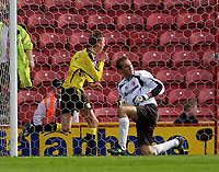 Photo. Glyn Thomas.<br /> Middlesbrough v Aston Villa. <br /> FA Barclaycard Premiership. 24/04/2004.<br /> Aston Villa's Peter Crouch (L) celebrates scoring his side's winning goal as Boro keeper Mark Schwarzer cannot believe what has happened.